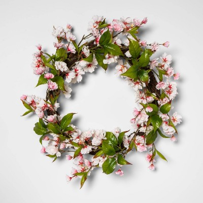 """18"""" Artificial Cherry Blossom Wreath Pink/Green - Threshold™"""
