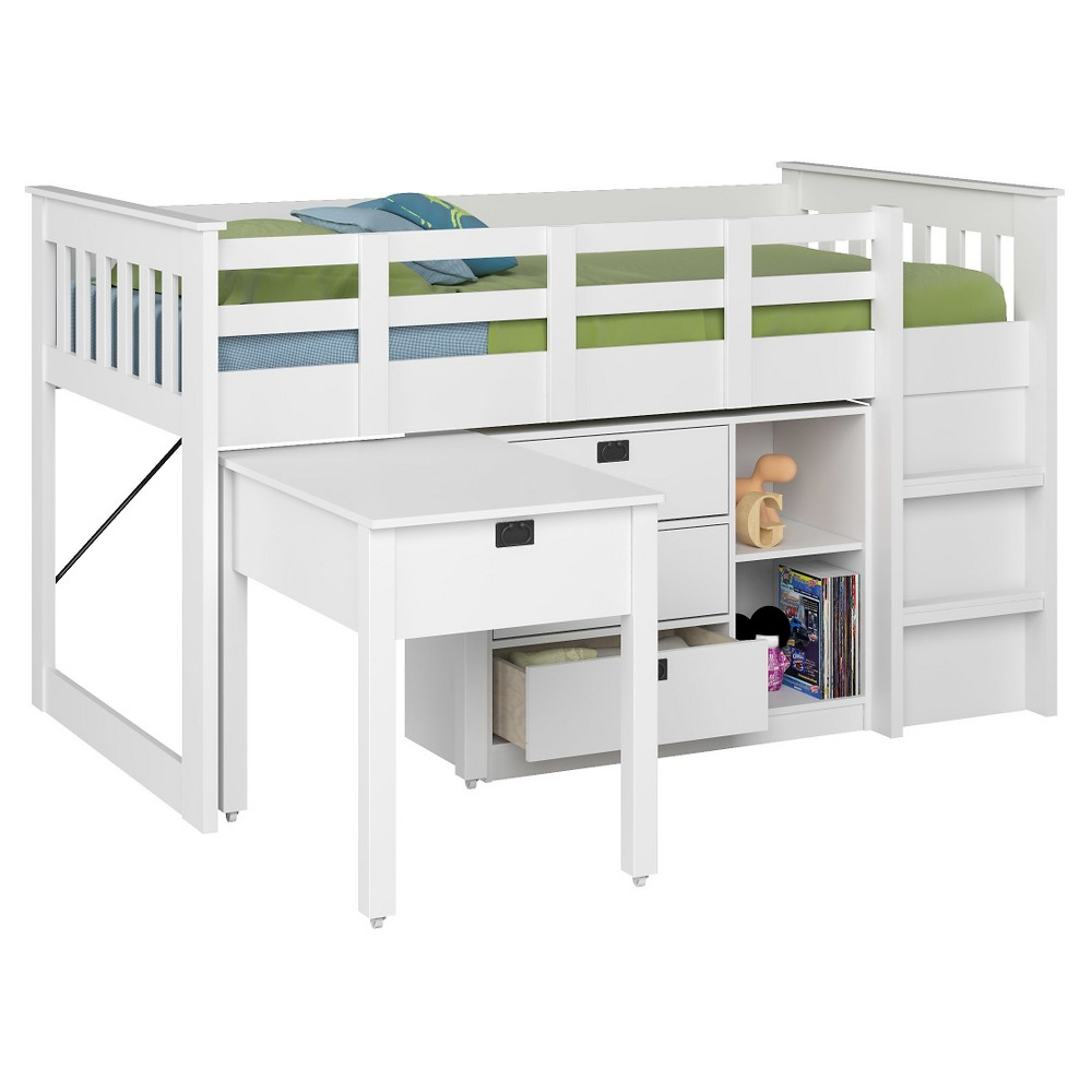 Image of 4 Piece Madison All-in-One Kids Loft Bed - CorLiving, White