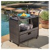 Corona Wicker Outdoor Serving Cart - Brown - Christopher Knight Home - image 2 of 4