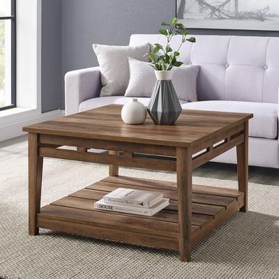 Grace Modern Farmhouse Plank Style Square Coffee Table Reclaimed Barnwood - Saracina Home