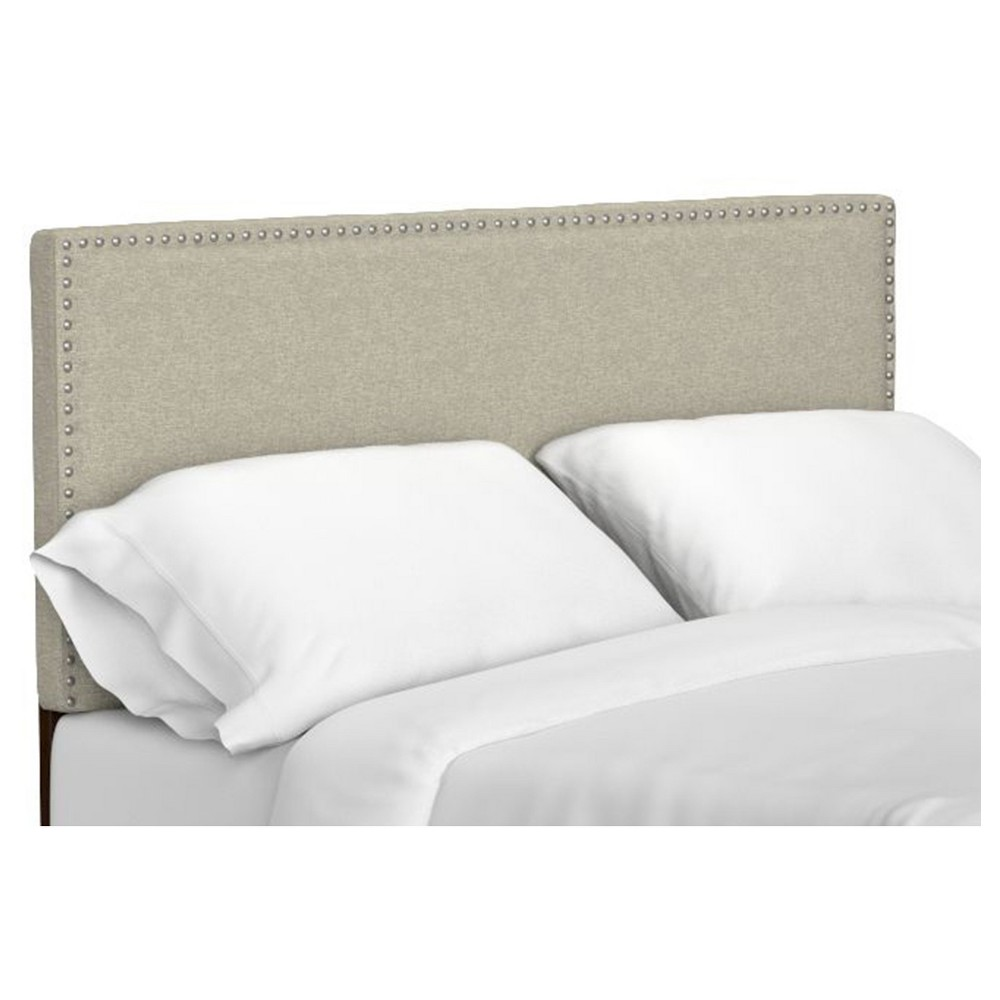 Image of Adine Upholstered Linen Headboard - Barley Tan (Full/Queen), Brown