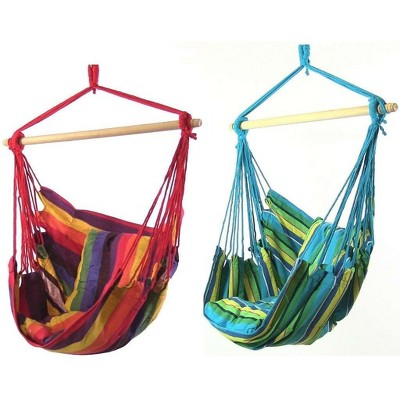 2pc Ocean Breeze Hammock Chair Swing and Sunset Hammock Chair Swing with Pillows - Blue/Green/Orange/Red - Sunnydaze Decor