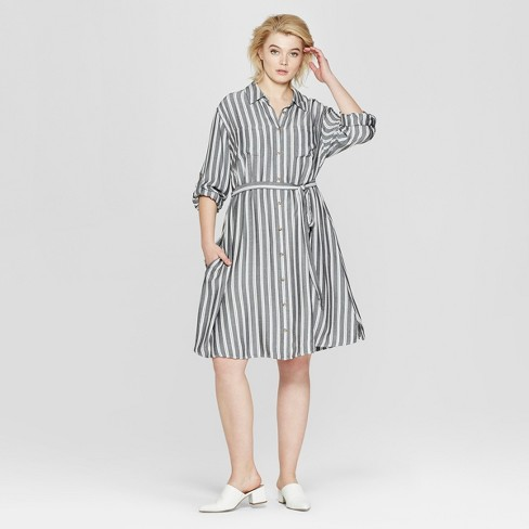 Women\'s Plus Size Striped Long Sleeve Shirtdress - Ava & Viv™ Gray ...