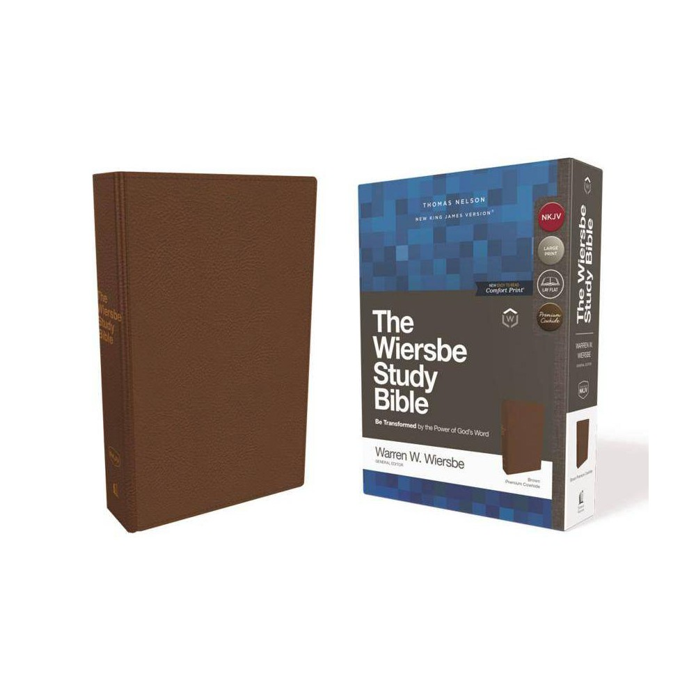 Nkjv, Wiersbe Study Bible, Genuine Leather, Brown, Comfort Print - by Thomas Nelson (Leather_bound)