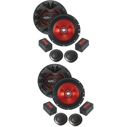 "2) BOSS CH6CK 6.5"" 700W Car 2 Way Component Car Audio Speakers System Red Stereo"