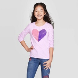 Girls' Long Sleeve Flip Sequin Heart T-Shirt - Cat & Jack™ Lilac