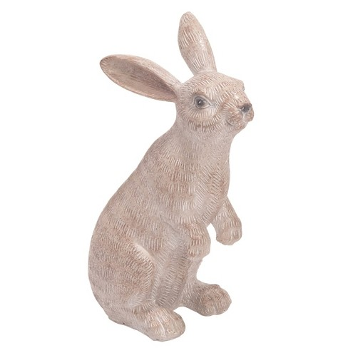 Transpac Resin 10 in. White Easter Sitting Bunny Statuette - image 1 of 1
