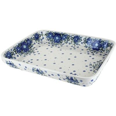 Blue Rose Polish Pottery Melanie Large Rectangular Baker