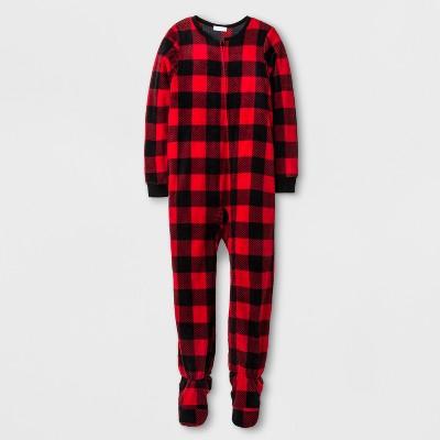 Komar Kids Toddler Boys' Buffalo Check Blanket Footed Sleeper - Red Check L