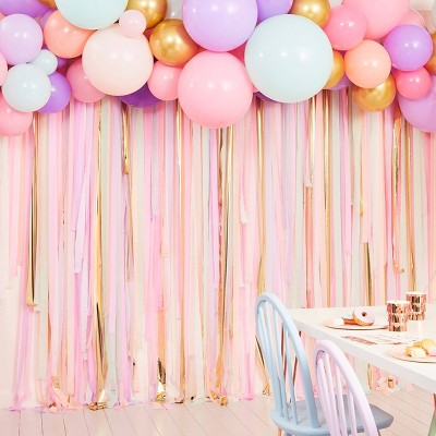 Streamer and Balloon Backdrop Purple/Gold/Blue