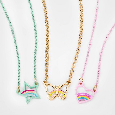 Girls' 3pk Heart Star and Butterfly Layered Necklace - Cat & Jack™