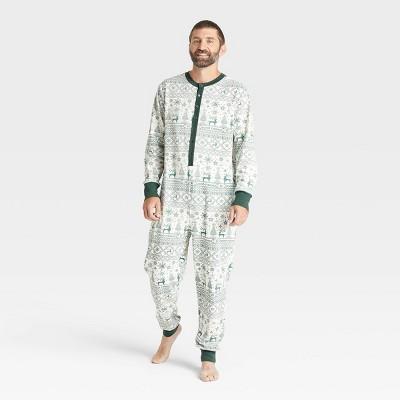 Men's Reindeer Good Tidings Union Suit Green/Cream - Hearth & Hand™ with Magnolia