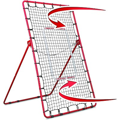 Rukket Sports Adjustable Pitch Back Baseball and Softball Rebounder Practice Throwing Net Screen, Red