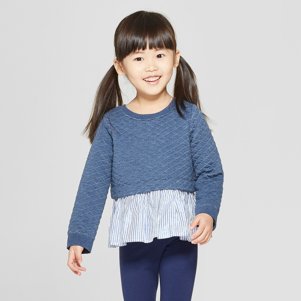 Genuine Kids from OshKosh Toddler Girls' Quilted Pullover Sweatshirt - Navy 18M, Blue