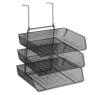 Fellowes Mesh Partition Additions Three-Tray Organizer 11 1/8 x 14 x 14 3/4 Black 75902