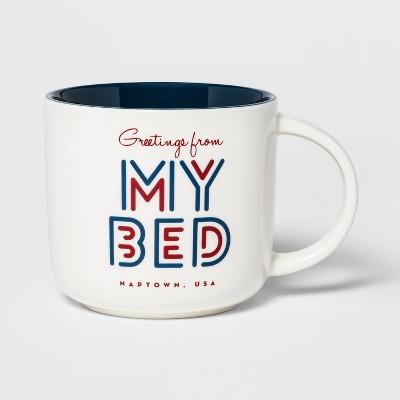 15oz Stoneware Greetings From My Bed Mug Cream - Threshold™
