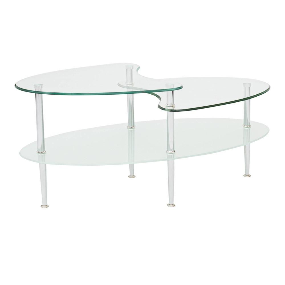 Glass Oval Living Room Metal Coffee Table - Saracina Home Top