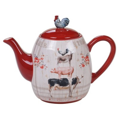 36oz Earthenware Farmhouse Teapot Red - Certified International