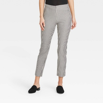 Women's Striped High-Rise Skinny Ankle Pants - A New Day™ Black/White
