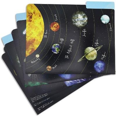 Paper Junkie 12-Pack Solar System Cardstock File Folders A4 Letter Size Document Holder 11.5 x 9.5 in, 6 Design