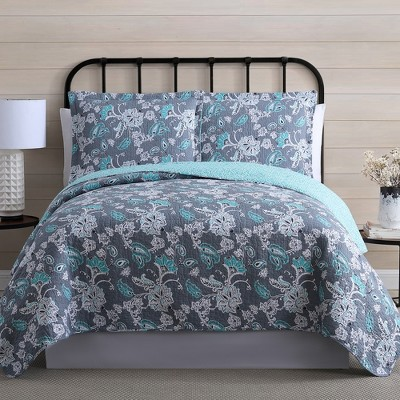 Modern Threads 100% Cotton 2 Or 3 Piece Printed Reversible Quilt Sets Agnes.