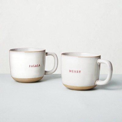 2pk 'Merry' + 'Fa-la-la' Stoneware Holiday Mug Set - Hearth & Hand™ with Magnolia