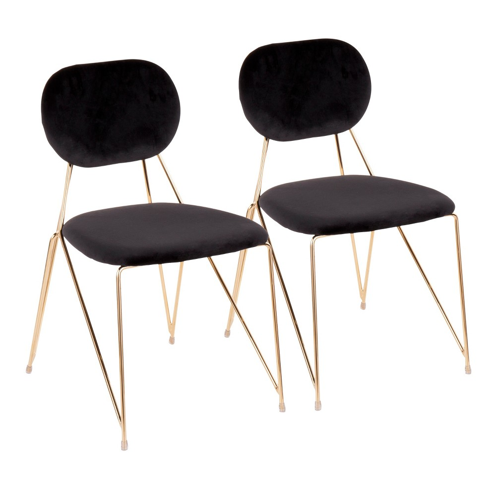 Set of 2 Gwen Contemporary Glam Chairs Black/Gold - LumiSource