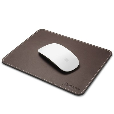 "Insten Mouse Pad for Computer Laptop PC Gaming with Anti-Slip Rubber Base & Waterproof Coating & Elegant Stitched Edge Brown Leather (Size: 7"" x 8.7"")"