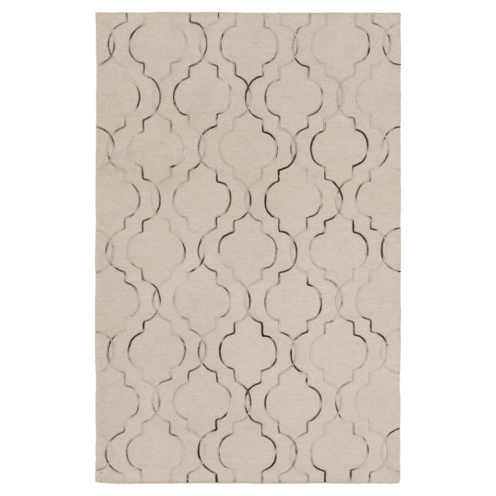 Taupe Brown Solid Woven Area Rug - (5'X7'6) - Surya, Green