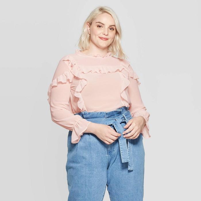 Women's Plus Size Ruffle Long Sleeve Collared Ruffle Yoke Blouse - Who What Wear™ - image 1 of 3