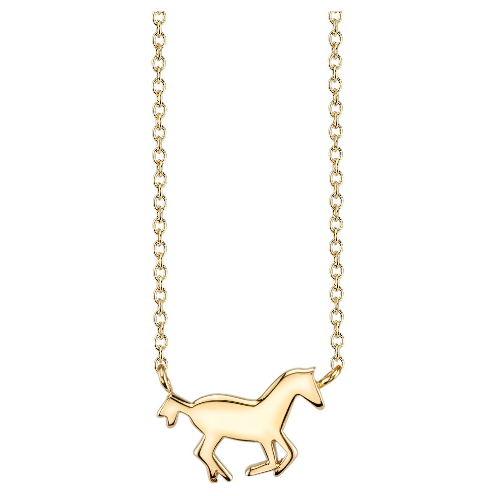 Women's Sterling Silver Horse Station necklace - Gold (18)