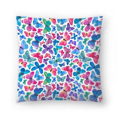 Americanflat Butterflies by Elena Oneill Throw Pillow