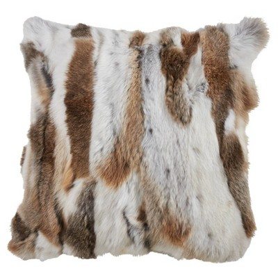 "16""x16"" Faux Fur Poly Filled Throw Pillow Natural - Saro Lifestyle"