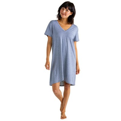 "Softies Women's 36"" V-Neck Short Sleeve Sleep Shirt with Tulip Hem"