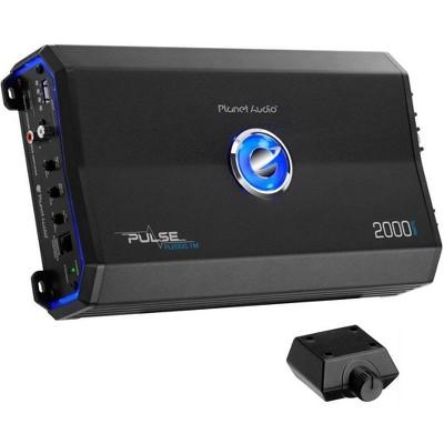 Planet Audio PL2500.1M Pulse 2500 Watt Class A/B Monoblock 2 Ohm MOSFET Power Car Amplifier with Bass Boost Remote, Black