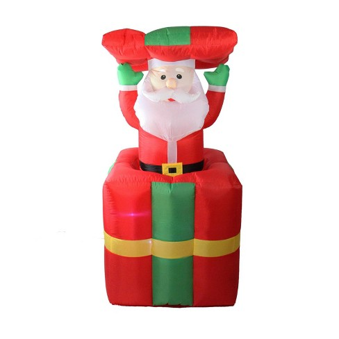 LB International Christmas 5' Pre-lit Inflatable Pop Up Santa Claus in Gift  Box Outdoor Decoration - LB International Christmas 5' Pre-lit Inflatable Pop Up Santa Claus