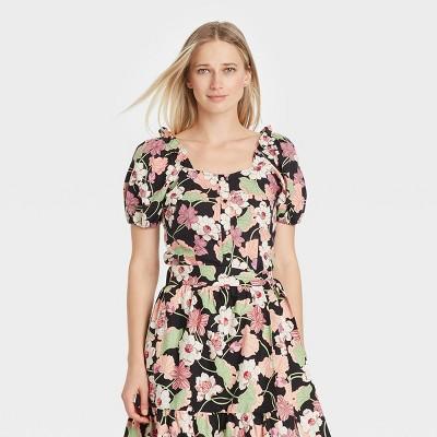 Women's Puff Short Sleeve Button-Down Shirt - Who What Wear™