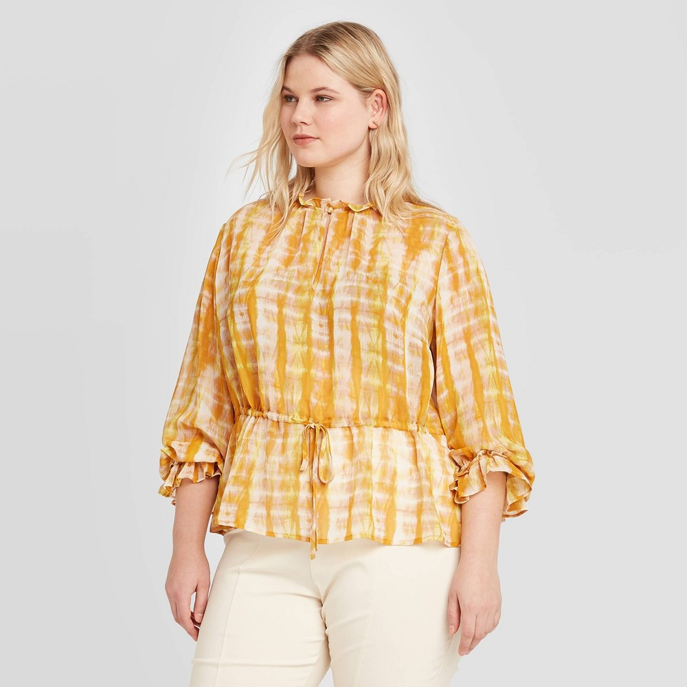 Women's Plus Size Tie-Dye Long Sleeve Ruffle Detail Drawstring Blouse - Who What Wear Yellow 4X, Women's, Size: 4XL was $29.99 now $13.49 (55.0% off)