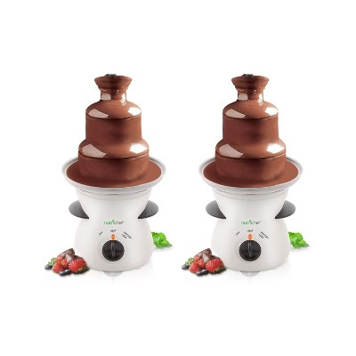 NutriChef PKFNMK16.5 Electric Countertop 3 Tier Stainless Steel Fondue Maker Fountain for Chocolate, Cheese, Liqueurs, Caramel Dip, White (2 Pack)