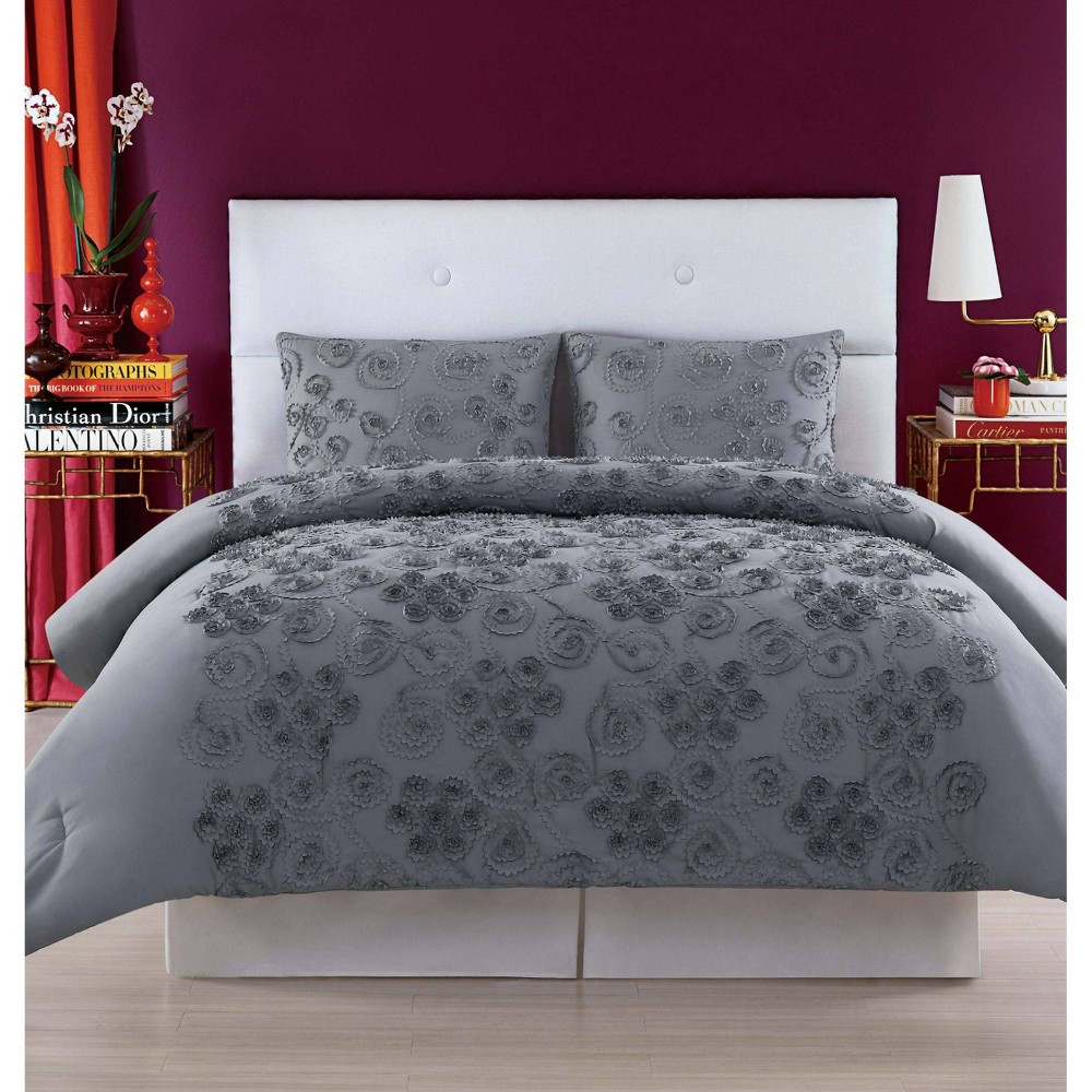Christian Siriano Pretty Petals Full Queen Comforter Set Gray