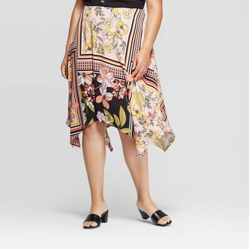 Women's Plus Size Floral Print Mid-Rise Scarf Print Slip Skirt - Who What Wear™ Pink - image 1 of 3