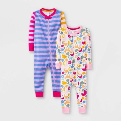 Baby Girls' 2pk Striped Colorblock Snug Fit Pajama Romper - Cat & Jack™ Purple