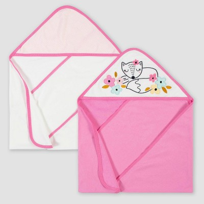 Gerber Baby Girls' 2pk Fox Terry Hooded Bath Towel - Pink