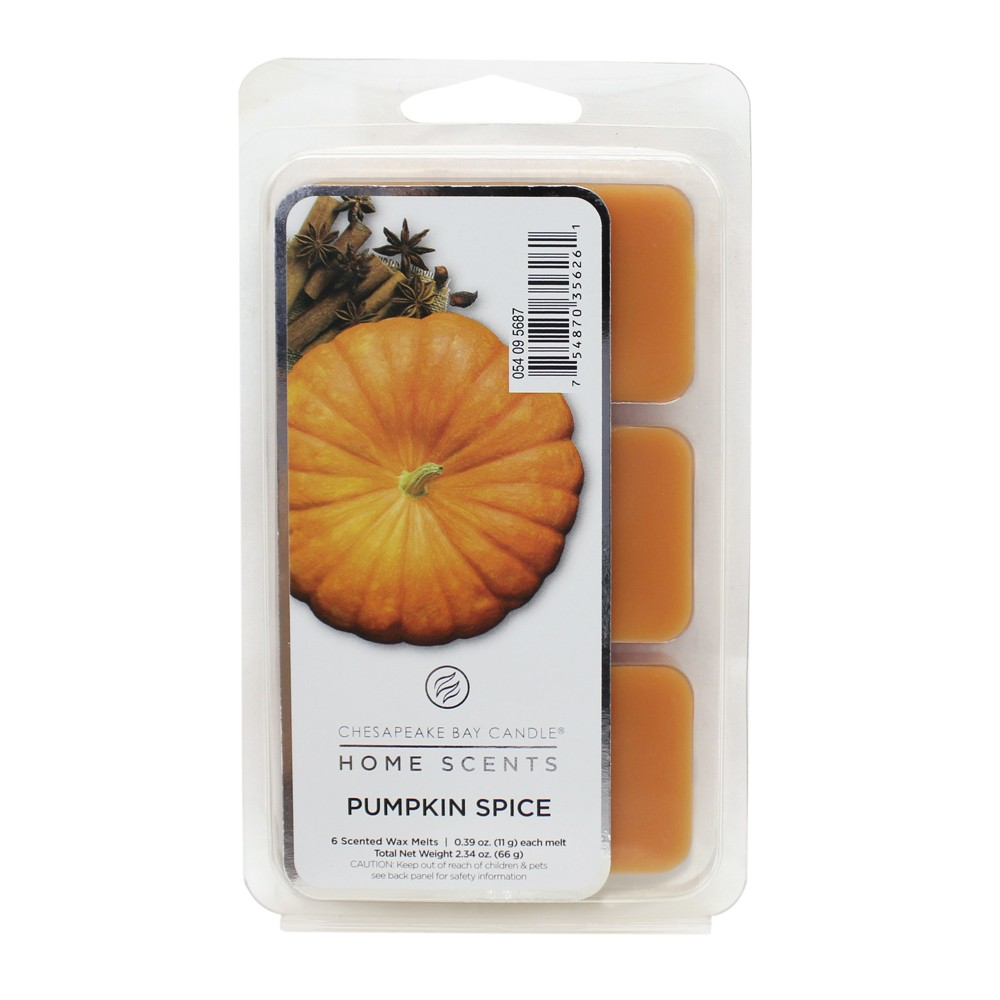 6pk Wax Melts Pumpkin Spice - Home Scents By Chesapeake Bay Candle, Orange