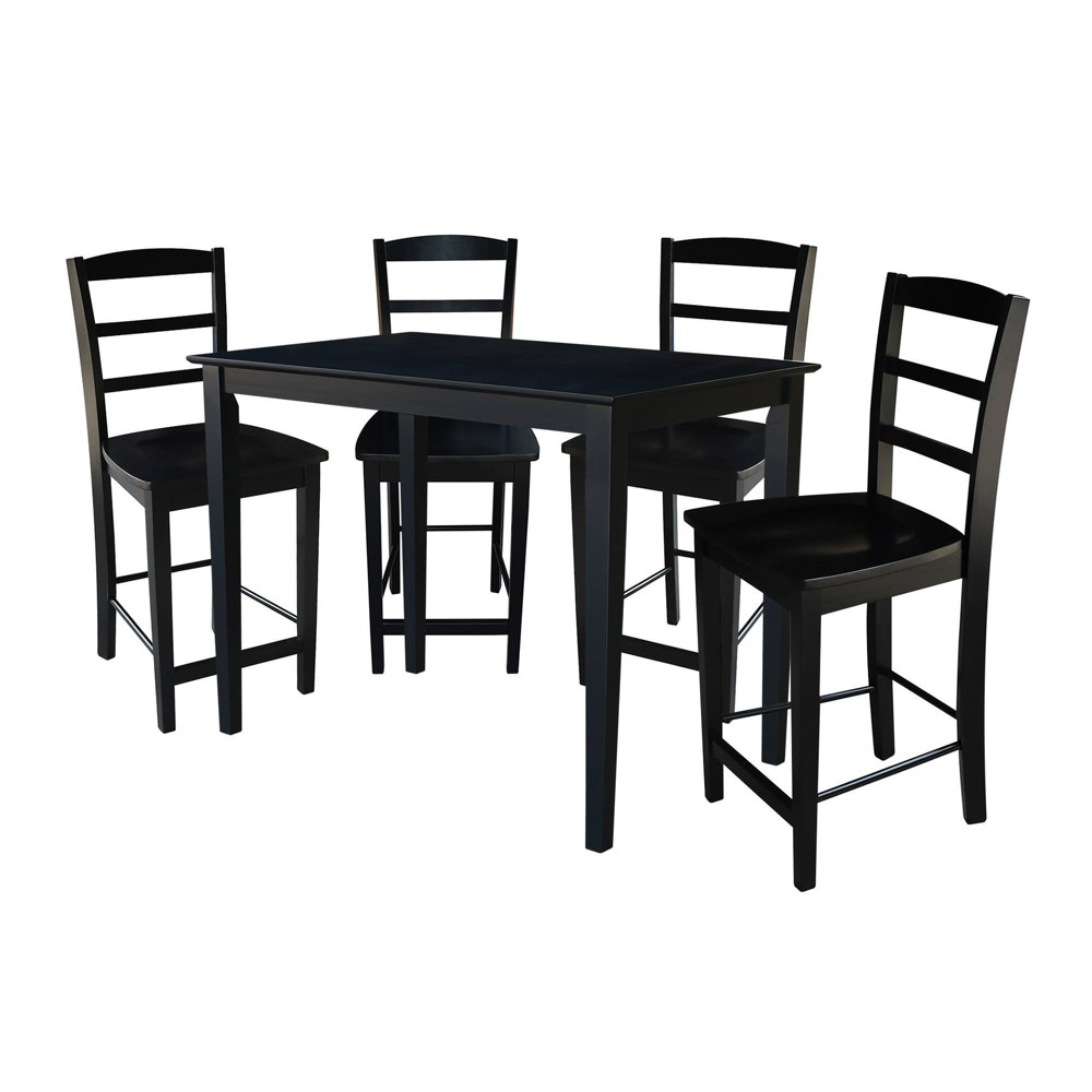30' X48' Set of 5 Counter Height Table with 4 Madrid Stools Black - International Concepts