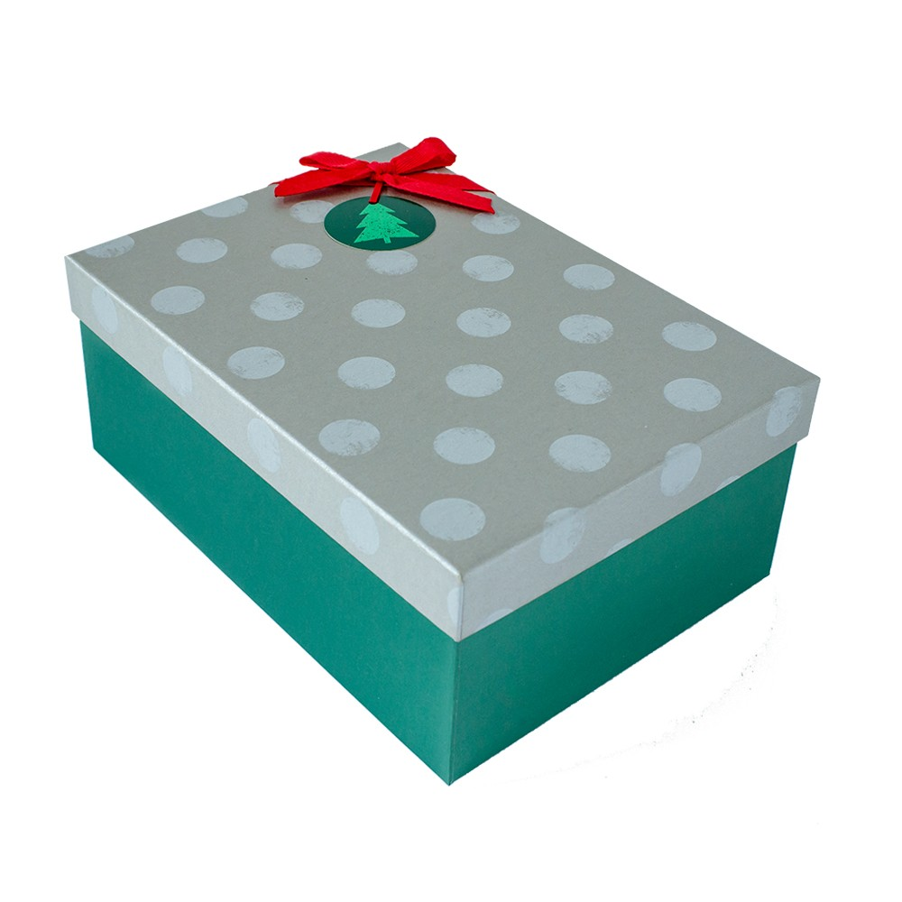 Casual Hardside Christmas Shoe Gift Box Gray with Dots/ Green - Wondershop