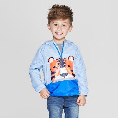 Toddler Boys' Long Sleeve Packable Tiger Windbreaker Jacket - Cat & Jack™ Blue 12M