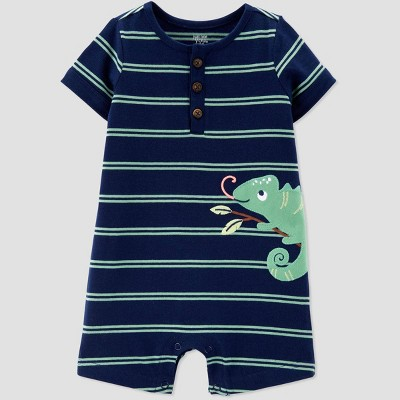 Baby Boys' Chameleon Embroided Stripe One Piece Romper - Just One You® made by carter's Blue/Green Newborn