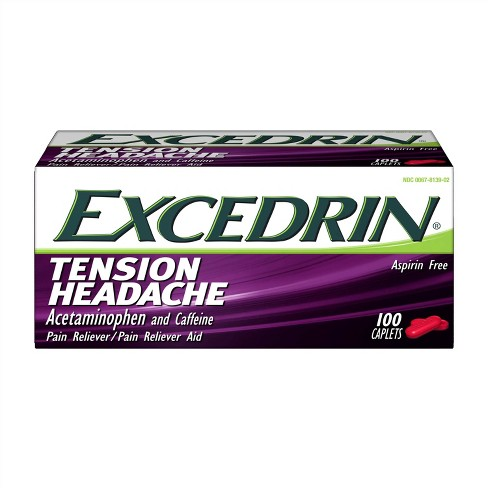 Excedrin Tension Head Ache Pain Reliever Caplets - Acetaminophen - 100ct - image 1 of 4