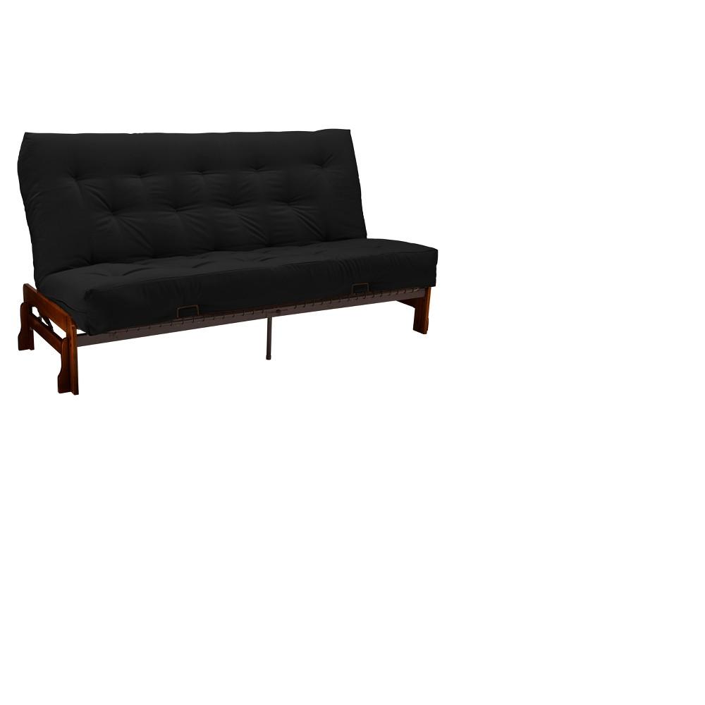 8 Low Arm Cotton & Foam Futon Sofa Sleeper Walnut Wood Finish Twill Black - Epic Furnishings